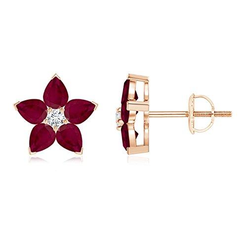 v-prong Juego de pendientes de tuerca de flor de diamante y Ruby