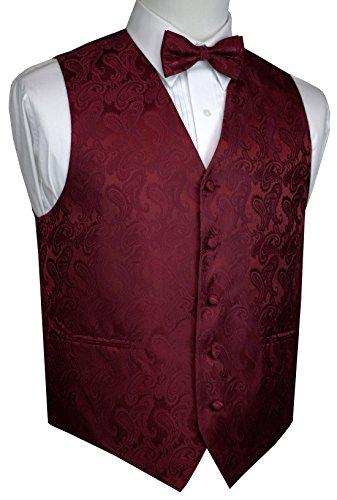 Brand Q 2pc Paisley Bowtie Vest Set-20-G-Burgundy-M