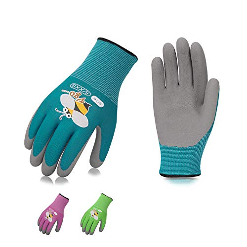 Vgo 3-Pairs Age 5-7 Kids Latex Gardening Gloves Work Gloves (XXS, KID-RB6013)