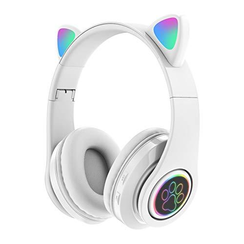 Auriculares Bluetooth inalámbricos lindos orejas de gato LED intermitentes con micrófono, sonido estéreo HD, almohadillas suaves plegables, para teléfonos móviles, tabletas y ordenadores portátiles