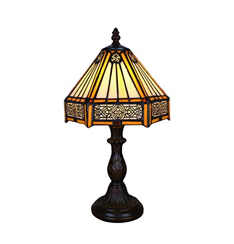 Tokira Vintage Tiffany Style Table Lamps 8 Inch, Stained Glass Court Retro Desk Lamps Patterns Handmade Bedroom Bedside Lampshades for Living Room LED Night Light