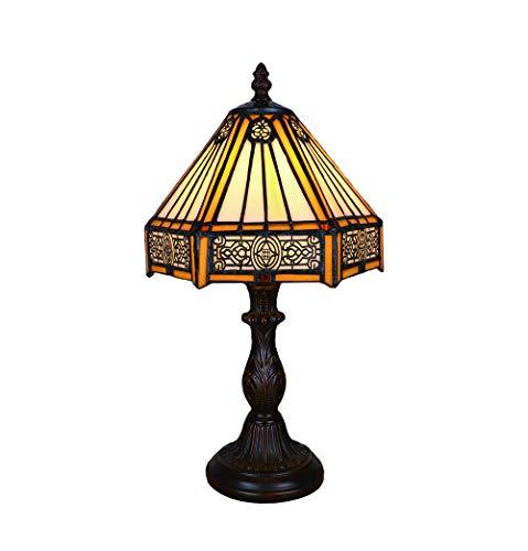 Tokira Ouderwets Tiffany Style Tafellamp, 8 Inch Gebrandschilderd Glas Tafellamp Patroon Handgemaakte Slaapkamer Nachtkastje Lampenkap Voor Woonkamer LED Nachtlampje
