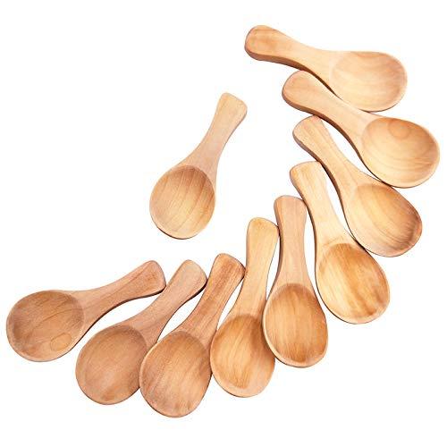 10Pcs Handmade Small Wooden Salt Spoons Mini Sugar Seasoning Condiments Baby Solid Wood Honey Teaspoon Coffee Tea Jam Mustard Ice Cream Milk (True color)