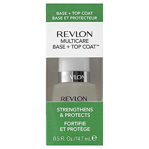 Soin des ongles Revlon Multicare Base + Top Coat, 2 en 1 Durcisseur d'ongles et Top Coat au Fini Brillant Glossy, 15 ml