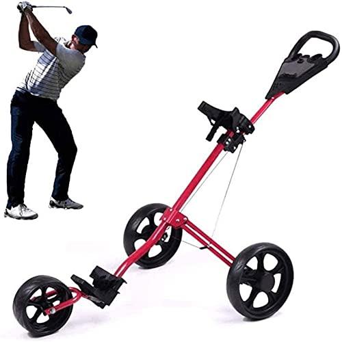 TUHFG Carro de golf plegable ligero carrito de golf de 3 ruedas, con mango de empuje ajustable, freno de pie y marcador, carro compacto de tirar, fácil de abrir (color: rojo)
