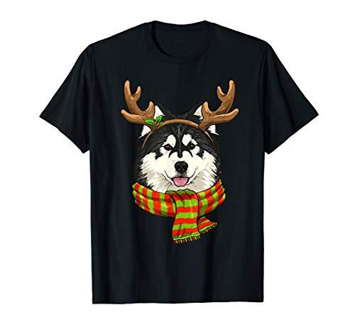 Alaskan Malamute Christmas Reindeer Antlers Dog Xmas Gift T-Shirt