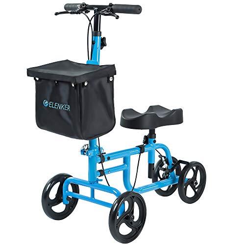 ELENKER Best Value Knee Walker Steerable Medical Scooter Crutch Alternative with Dual Braking System Sky Blue