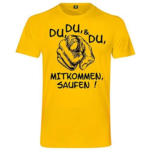 Du Mitkommen Saufen T-Shirt | Alkohol | Bier | Freunde | Party | Wodka | Vodka Gelb M