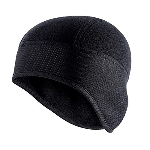 OCGDZ Unisex Wintermütze zum Radfahren, winddicht, warm, Polar-Fleece, Thermo-Helm, Beanies, Mütze, einfarbig, zum Wandern, Skifahren, Ohrenwärmer (Farbe: Schwarz, Größe: Einheitsgröße)
