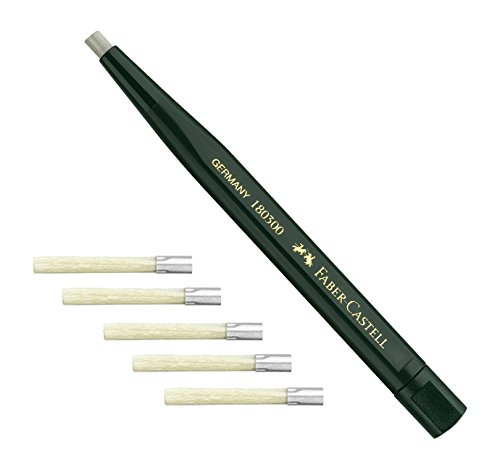 Faber-Castell 180300 - Drehstift mit Glasradierer, Schaftfarbe: grün + 5 Ersatzminen 180600