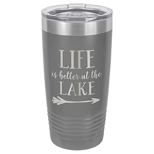 LIFE IS BETTER AT THE LAKE Grey 20 oz Drink Tumbler With Straw | Engraved Stainless Steel Travel Mug | Funny Quote Gift Idea | OnlyGifts.com