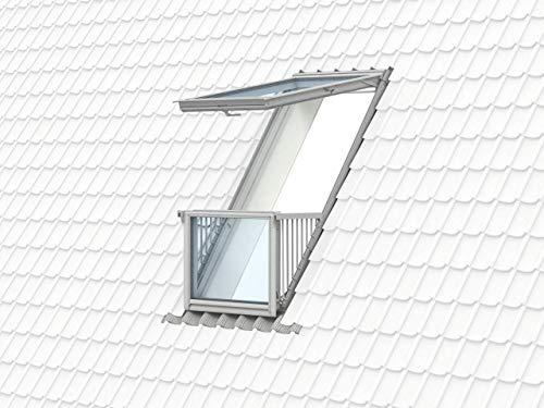 VELUX Group VELUX Dachfenster GDL 2066 Holz Dachaustritt CABRIO weiß lackiert ENERGIE PLUS Aluminium SK19 (114 x 252 cm)