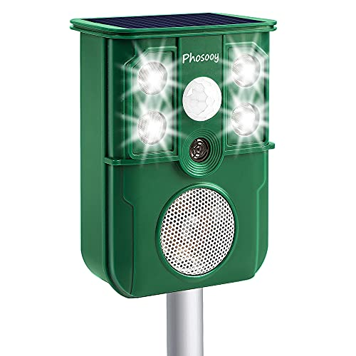 Phosooy Ultrasonic Animal Repeller, IP44 Solar Powered Bionic Rodent Repeller with PIR Motion Activated Flashing LED Light, Repel Dogs, Cat, Squirrels, Raccoon, Rabbit, Skunks, Wild Boars Outdoor