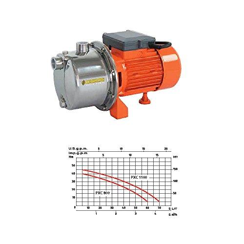 Speroni Euromatic - PXC-1100 - zelfaanzuigende elektrische pomp van roestvrij staal, 1100 W, zuigvermogen 8 m, opvoerhoogte 45 m, waterpompvermogen 70 l/min, voor continue tuinbewatering