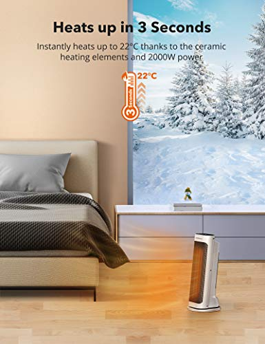 41It5PRwsvL - TaoTronics Fan Heater, Ceramic Fan Heater with Remote Control 2 Heating Levels (2000W / 1200W), Bathroom Energy-Saving…