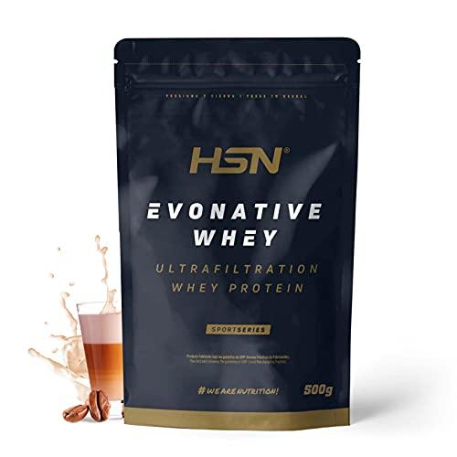 Proteína de Suero Leche Nativa Evonative de HSN | Native Whey Protein | Materia Prima de Máxima Calidad | Vegetariano, Sin Gluten, Sin Soja, Sabor Café con Leche, 500g