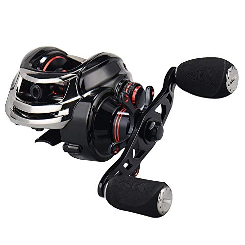 KastKing Royale Legend/Whitemax Low Profile Baitcasting Fishing Reel – 11 +1 Shielded Bearings, 17.5 Lb Carbon Fiber Drag (A: Left-Black)