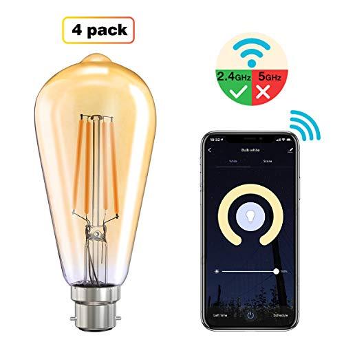 MoKo Smart WLAN Edison Glühbirne, B22 7.5W WiFi Vintage Birne Dimmbar LED Lampe Glühlampe, Retro Glühbirnen Kompatibel mit Alexa Echo Google Home, Warmweiß Licht Sprach/Fernsteuerung Timer, 4 Pack