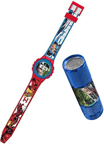 Kids Licensing  Reloj Digital + Linterna Niños   Reloj Avengers   Linterna Avengers   Set Reloj y Linterna Infantil   Reloj de Pulsera Infantil   Caja Decorada Perfecta para Regalo  Licencia Oficial