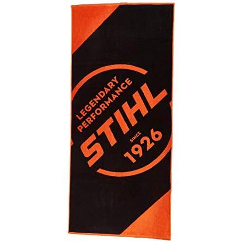 Stihl, telo da spiaggia e sauna per adulti, colore: nero/arancione, 80 x 180 cm