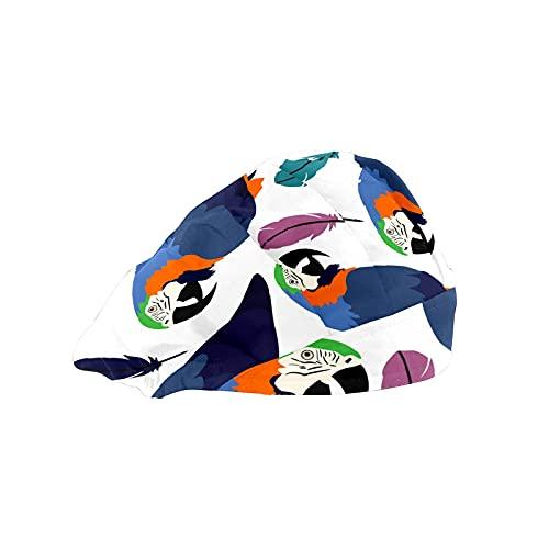 Damen Kappe für langes Haar Arbeitsmütze mit Schweißband Elastisch Verstellbar Arbeitskappen für Männer Arbeiten Kopftuch 3D Gedruckt Hüte Aras Vogel Papageien Feder