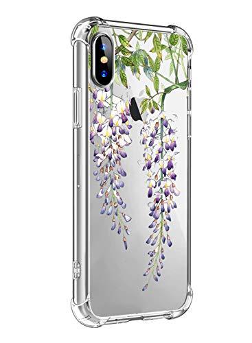 Oihxse - Carcasa transparente para iPhone 7 + Plus y 8 + Plus (poliuretano termoplástico) y silicona de protección de aire, antiarañazos, diseño de flores