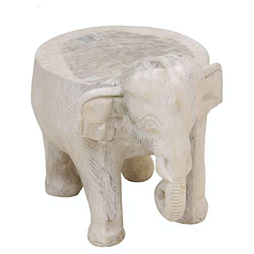 Oriental Galerie Hocker Rundhocker Holzhocker Elefanthocker Blumehocker Elefant ca. 32 cm hoch Holz Limboholz Weiß Groß