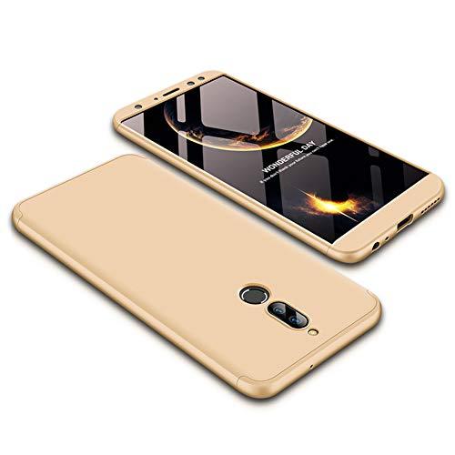 JMGoodstore Funda Huawei Mate 10 Lite,Carcasa Huawei Mate 10 Lite,Funda 360 Grados Integral para Ambas Caras+Cristal Templado,[ 360°] 3 in 1 Slim Fit Dactilares Protectora Skin Caso Carcasa Cover Oro