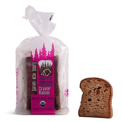 Happy Campers Cravin' Raisin Cinnamon Spice Gluten Free Bread, Organic, Non-GMO, Vegan, 17.4 oz Loaf (Pack of 4)
