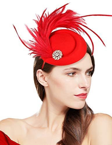 Coucoland - Tocado para mujer, elegante, con plumas, para bodas, cócteles, té,...