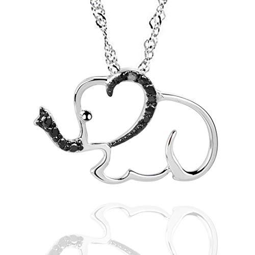 GemsChest Collar para Mujer Plata de Ley 925 Colgante Elefante para Niña Esterlina Joyería Zirconia Cúbica 45cm Cadena Joyas Regalos para Mujer Esposa Niña Navidad Cumpleaños