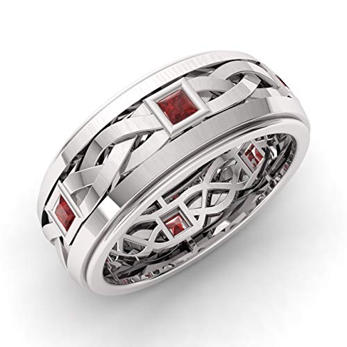 Diamondere Natural and Certified Princess Cut Garnet Wedding Band Ring in 14k White Gold | 0.60 Carat Celtic Knot Ring for Mens, US Size 7