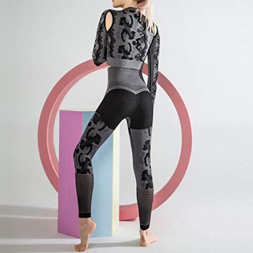 Wxlyy - Leggings transpirables para fitness, yoga, yoga, fitness, manga larga, gris, S.