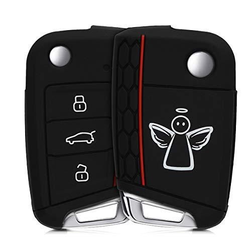 kwmobile Autoschlüssel Hülle kompatibel mit VW Golf 7 MK7 3-Tasten Autoschlüssel - Silikon Schutzhülle Schlüsselhülle Cover Schutzengel Weiß Schwarz