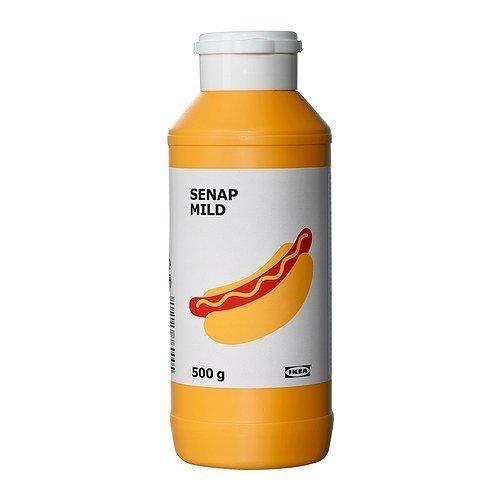 IKEA milder Senf SENAP MILD aus gemahlenen Senfkörner - in wiederverschließbarer 500g Flasche - für z.B. Hotdogs, Würstchen, Hamburger, Soßen