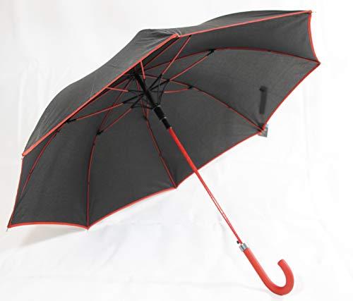 Susino Regenschirm in schwarz mit rotem Rand, sowie Griff und Gestänge farblich abgesetzt (7017)