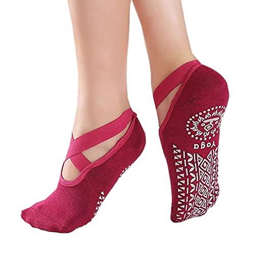 OUBALA Mujeres de Yoga Calcetines de Silicona Pilates Calcetines Gimnasio Deporte Sock Deportes Zapatillas de Baile con agarres para Mujeres niñas MY14 20 (Color : Red)