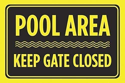 """DKISEE Blechschild aus Aluminium mit Aufschrift """"Pool Area Keep Gate Close"""", schwarz-gelb, Druck """"Swim Rules Swimming horizontal"""", 25,4 x 35,6 cm"""