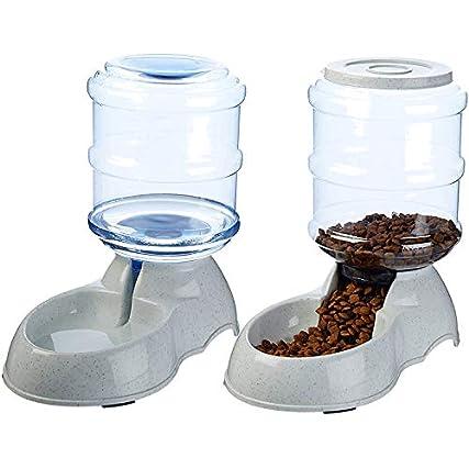 XIAPIA Dispenser Cibo Cani, Alimentatore Automatico per Pet, Dispenser Automatico Cibo Acqua, 3.75L x 2 Pezzi Conservatore di Cibo e Acqua (Distributore Automatico di Acqua per Animali Pet-)