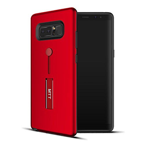 MTT Extreme Shock Absorption Tough Armor Case with Inbuilt Stand & Hand Holder Strap for Samsung Galaxy Note 8 (Red)