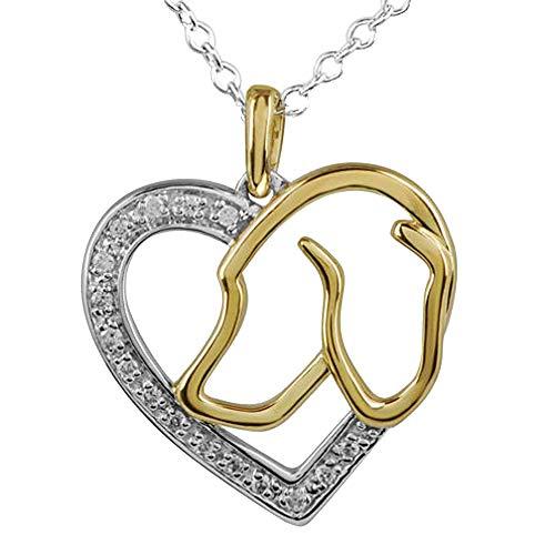 Ani's Colgante de corazón con forma de corazón de dos tonos de diamante de circonita cúbica transparente de 1/10 quilates con collar de cadena de 45,7 cm .925