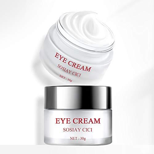 Crema de ojos, reparación de ojos, crema debajo de los ojos con ácido hialurónico, cafeína, escualano para ojeras, líneas finas de ojos, bolsas de ojos, ilumina la piel de los ojos, 30g