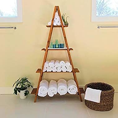 Whole House Worlds A-Frame Folding Rack, Sedona Spa Hotel Style, Shelf, Bookcase, Plant Stand, and More, Sustainable Wood, Approx. 5 Ft Tall, 4 Tier Shelves, Natural Finish, Rustic Ladder Style