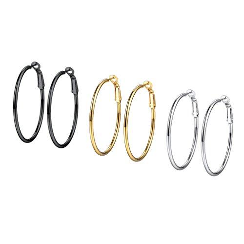 PROSTEEL 3er Ohrringe Set 40mm Damen Creolen Huggie Kreolen Ohrringe Edelstahl Hoop Klappcreolen Ohr Piercing Gold Schwarz Silber 3 Farbe Set