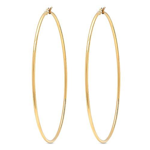 Gem Stone King 3.5 Inch Stunning Stainless Steel Yellow Gold Tone Hoop Earrings (90mm Diameter)