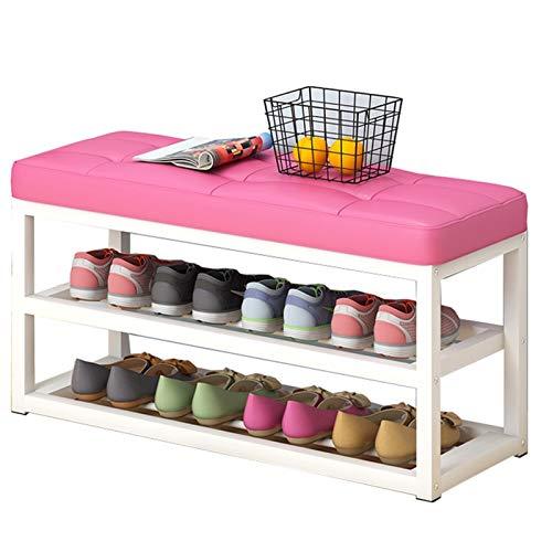 WHOJA Zapatero Estante de 2 Capas Asiento tapizado de PU Estante de Metal Cambiar Banco de Zapatos Apto for pasillos de salón Teniendo Peso 150 kg Estantería (Color : Pink, Size : 80x30x50cm)