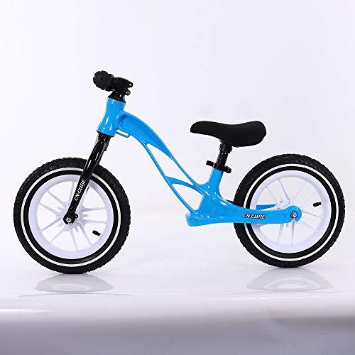 ZZTHJSM Mikrowaage Bikes, 3-6 Jahre Kein Pedal-Gehen Strider Bike, Magnesium-Legierung Rahmen, Blitz-Rad-Garten-Spielzeug 12 Zoll,Blau