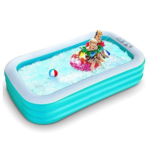 BBZZ Piscina inflable, piscina grande de 200 x 160 x 50 cm, piscina infantil plegable, para niños y adultos, familia, colocación rápida, rectángulo verde1