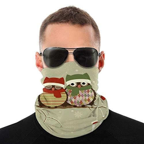 Nother Mascarilla facial de búhos de Navidad en invierno, bandanas, multifuncionales de cobertura completa, calentador de cuello, medio pasamontañas, bufanda mágica, para mujeres, hombres y niños