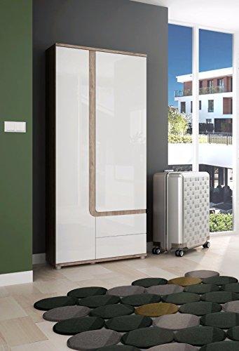 Wohnwand Schrankwand Wohnzimmer Möbel MILANO I Eiche Nelson / Weiss Hochglanz (Hochschrank)